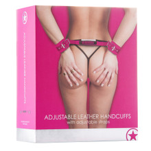 ADJUSTABLE LEATHER HANDCUFFS PINK