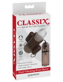 CLASSIX DUAL VIBRATING PENIS SLEEVE SMOKE