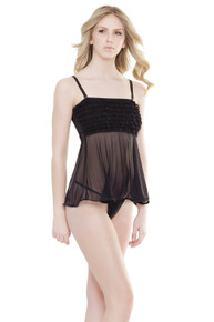 RUFFLE BABYDOLL BLACK O/S  | CQ2534BLK | [category_name]