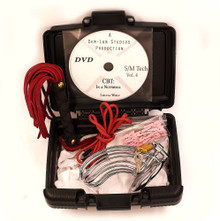 CBT KIT - METAL CHASTITY CAGE INTIMATE FLOGGER 10 CLOTHES PINS 5' LACING DVD CASE RED