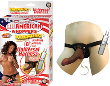 AFRO AMERICAN WHOPPERS VIBRATING 8 IN DONG W/HARNESS