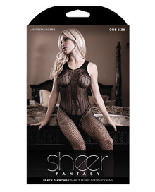 CRISS CROSS BACK BODYSTOCKING BLACK O/S