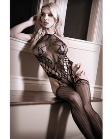 HALTER CAGE TEDDY BODYSTOCKING BLACK O/S