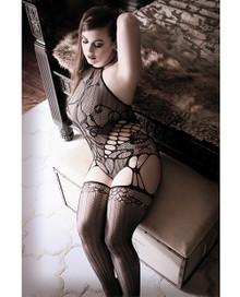 HALTER CAGE TEDDY BODYSTOCKING BLACK Q/S