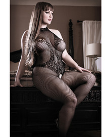HALTER TATTOO BODYSTOCKING BLACK Q/S