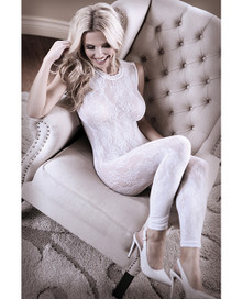 LACE EDGE BODYSTOCKING WHITE O/S