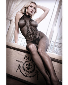 HALTER TATTOO BODYSTOCKING BLACK O/S