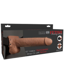 FETISH FANTASY 10 IN HOLLOW RECHARGEABLE STRAP-ON REMOTE TAN