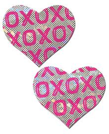 PASTEASE SHATTERED GLASS DISCO BALL PINK W/ WHITE XO HEART  | PASHRTXOPKWT | [category_name]