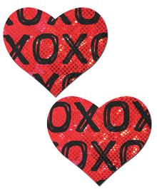 PASTEASE SHATTERED GLASS DISCO BALL RED W/ BLACK XO HEART  | PASHRTXORDBK | [category_name]