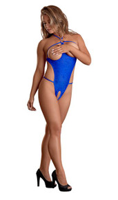 HYPNOTIC SWIRL CUPLESS & CROTCHLESS TEDDY BLUE LARGE