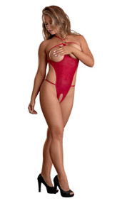 HYPNOTIC SWIRL CUPLESS & CROTCHLESS TEDDY RED LARGE
