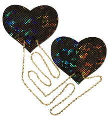 BLACK SHATTERED DISCO BALL HEART W/ GOLD CHAINS PASTIES