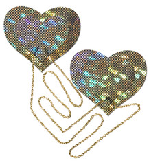 GOLD SHATTERED DISCO BALL HEART W/ GOLD CHAINS PASTIES