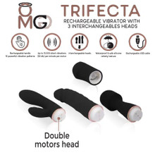 TRIFECTA RECHARGEABLE VIBRATOR W/ 3 INTERCHANGEABLE HEADS BLACK