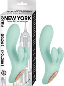 VIBES OF NEW YORK TRIPLE TICKLER MASSAGER AQUA