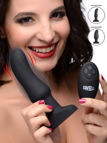 SWELL 10X SILICONE INFLATABLE & VIBRATING CURVED ANAL PLUG