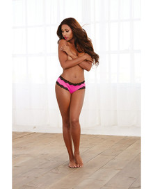 LACE UP BACK CHEEKY PANTY HOT PINK & BLACK LACE SMALL