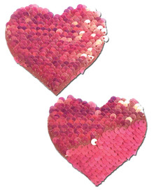 PASTEASE HOT PINK & MATTE PINK COLOR CHANGING SEQUIN HEARTS PASTIES