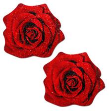 PASTEASE ROSE RED GLITTER VELVET NIPPLE PASTIES