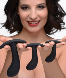 MASTER SERIES DARK DELIGHTS 3PC CURVED SILICONE ANAL TRAINER SET
