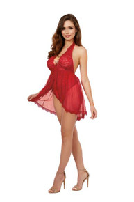 HALTER PLUNGE FRONT STRETCH LACE TEDDY ROUGE O/S