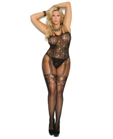 FISHNET & LACE BODYSTOCKING QUEEN BLACK