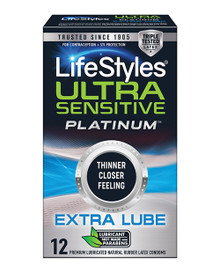 LIFESTYLES ULTRA SENSITIVE PLATINUM EXTRA LUBE 12 PK