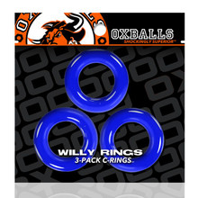 WILLY RINGS 3 PK COCKRINGS POLICE BLUE (NET)