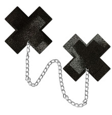 PASTEASE CHAINS LIQUID BLACK X CROSS W/ CHUNKY SILVER CHAIN NIPPLE PASTIES