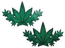 PASTEASE DEMI WEED GREEN GLITTER POT LEAVES BREAST COVER