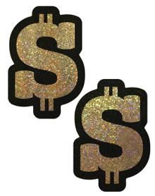 PASTEASE MONEY GOLD GLITTER DOLLAR SIGN NIPPLE PASTIES