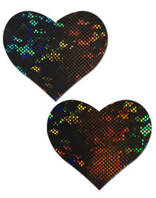 PASTEASE LOVE SHATTERED GLASS DISCO BALL BLACK HEART NIPPLE PASTIES