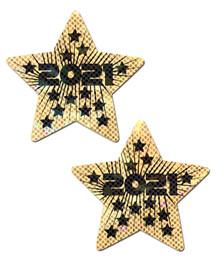 PASTEASE HAPPY NEW YEARS 2021 LIQUID GOLD & BLACK STAR NIPPLE PASTIES