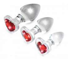 BOOTY SPARKS RED HEART GLASS ANAL PLUG SET