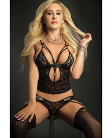 3PC PLUNGE CAMI TOP BRAZILIAN GARTER PANTY & STOCKINGS BLACKOUT