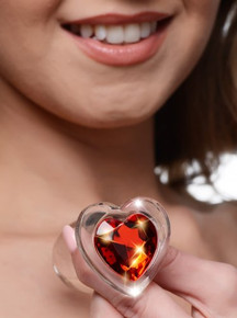 BOOTY SPARKS RED HEART GLASS ANAL PLUG MEDIUM