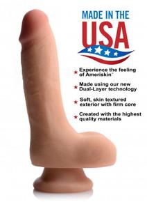 USA COCKS 7IN AMERISKIN DILDO- LIGHT