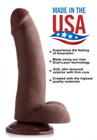 USA COCKS 8IN AMERISKIN DILDO- DARK