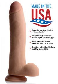USA COCKS 11IN AMERISKIN DILDO -LIGHT