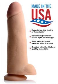 USA COCKS 12IN AMERISKIN DILDO -LIGHT
