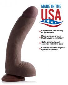 USA COCKS 10IN AMERISKIN DILDO -DARK