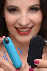 BANG! VIBRATING BULLET W/ REMOTE CONTROL BLUE