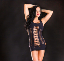 NAUGHTY GIRL BLACK SPAGHETTI STRING DRESS O/S (NET)