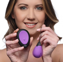 BANG! 10X VIBRATING SILICONE EGG W/ REMOTE PURPLE
