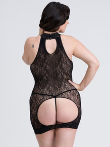 FIFTY SHADES CAPTIVATE PLUS SIZE BLACK LACE SPANKING MINI DRESS O/S QUEEN