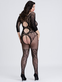 FIFTY SHADES CAPTIVATE PLUS SIZE BLACK LACE SPANKING BODYSTOCKING O/S QUEEN