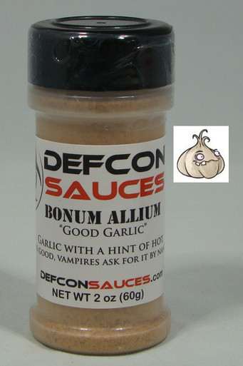 DEFCON Sauces - Bonum Allium - Mild Garlic 2 oz Get that great flavor of garlic with a little bit of heat.  Great for popcorn, as a dry rub, or even on pizza.