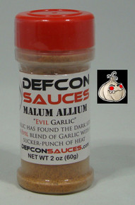 DEFCON Sauces - Malum Allium - EVIL Garlic Our mild garlic with a little extra kick of Scorpion.  It won't kill you, just add a spicy bite.