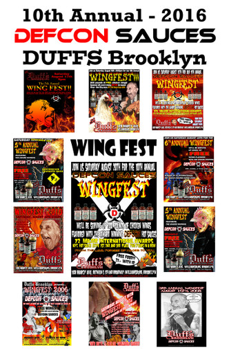 Here it is! The official 2016 TENTH Annual Duffs Brooklyn Wingfest poster. We had a very limited number of these made, and sold a bunch at the event. We have about 15 left, so I'm offering them up to everyone. Each image is from each year we have done the event. There was no poster from 2009, but 2 in 2011 due to Hurricane Irene.